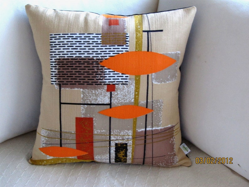 Mid Century Modern Pillow Cover  Vintage Barkcloth Pillow image 0