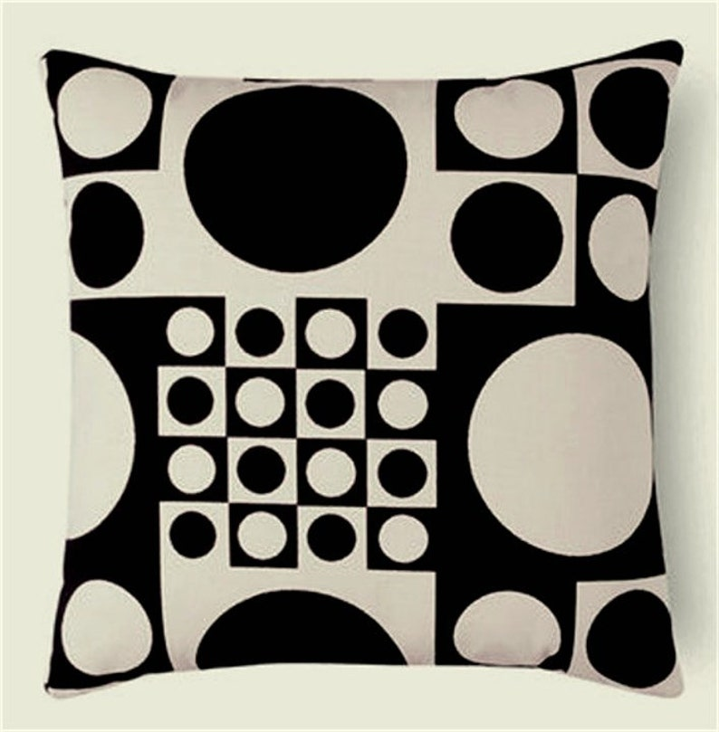 Panton Mid Century Modern Throw Pillow Cover  Black and White image 0