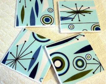"Jetsons AQUA  Atomic Coasters - Ceramic Tiles -  Aqua, Navy, Periwinkle, Avocado, Denim Blue - GREAT Gift Idea - Set of 4 - approx 4"" x 4"""