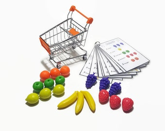 Learning practical life grocerie shopping, counting busy bag for toddler preschooler kindergarten, 4 years old activity, early math.l