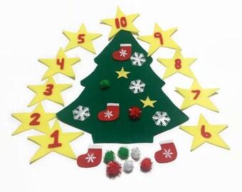 Felt christmas tree for kids, christmas gift for niece, nephew, daughter, son, stocking stuffer for preschool, kindergarten, toddlers gifts.