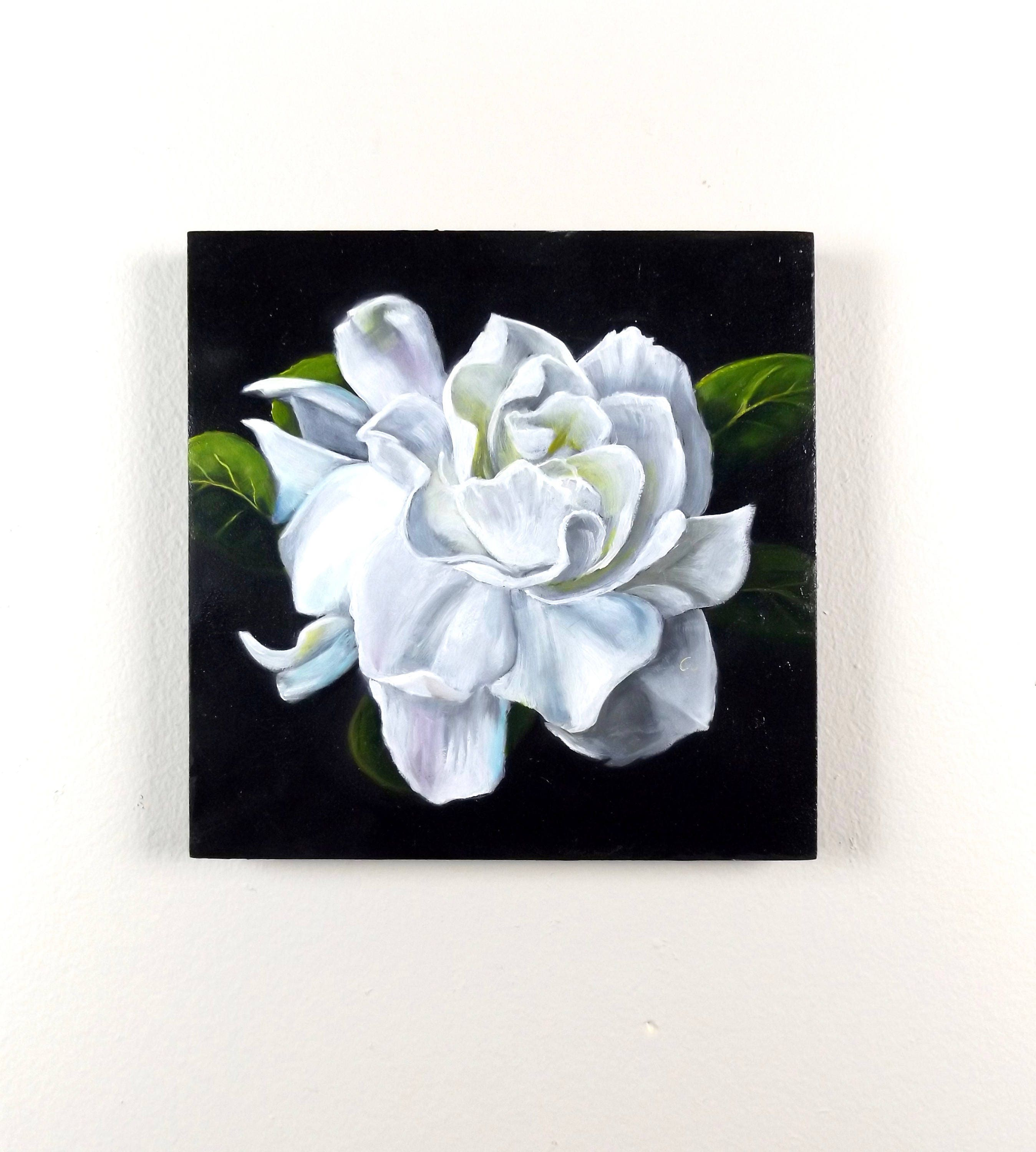 Original Small Hand Painted White Flower Oil Painting Etsy