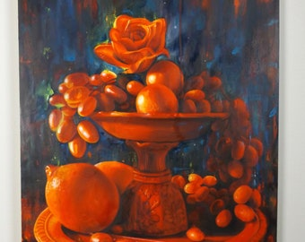 Original Red Still Life Oil Painting