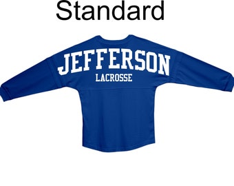 1148e5e89 Personalized Long Sleeve Adult Billboard Spirit Wear T-Shirt - Jersey -  Standard Design - Great for Schools