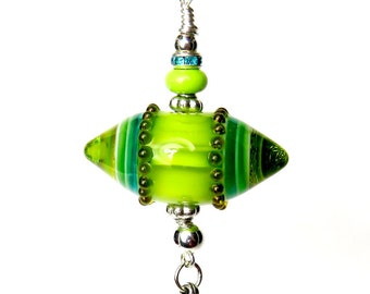 Lime Green Lampwork Pendant, Green Bullet Pendant, Green Tribal Pendant, Lime Handbag Accessories, Lampwork Keyring, Statement Pendant