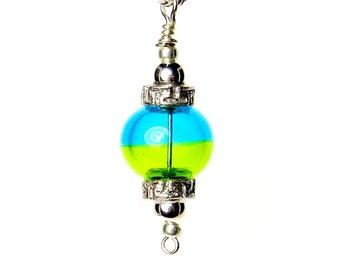 Statement Pendant, Blue Bead Pendant, Lampwork Pendant, Indian Pendant, Round Tribal Pendant, Handbag Accessory, Lampwork Keyring
