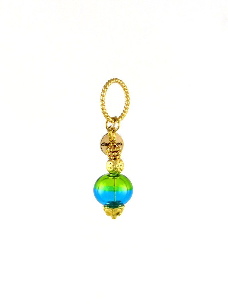Green and Gold Tropical Jewelry Pendant for Jewelry Making image 0