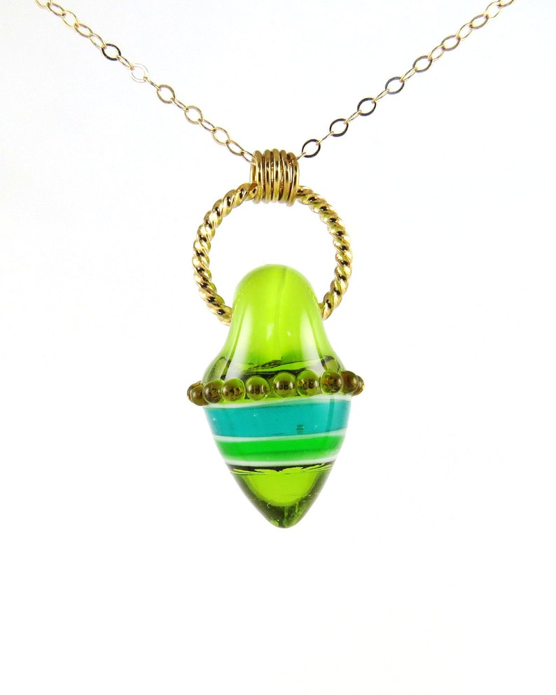 Green Pendant Green Glass Beads Green Pendant Necklace image 0