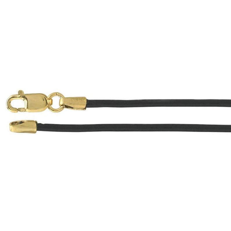 Black Leather Cord Lobster clasp cord Gold lobster clasp image 0
