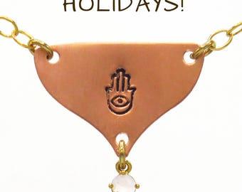 Hamsa Necklace, Hand Stamped Necklace, Hamsa Charm, Hamsa Necklace, Evil Eye Necklace, Evil Eye Jewelry, Ethnic Necklace, Copper Necklace.