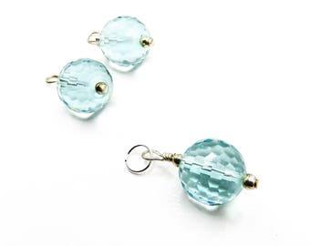Aqua Quartz glass, faceted round bead, 14 mm, jewelry, charm, glass charm, blue charm, bracelet charms, silver wire wrap, round pendant