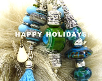 Handbag Accessories, Handbag Charms, Tribal Charms, Lampwork Charms, Statement Jewelry, Lampwork Beads, Ethnic Charms, Lampwork Jewelry