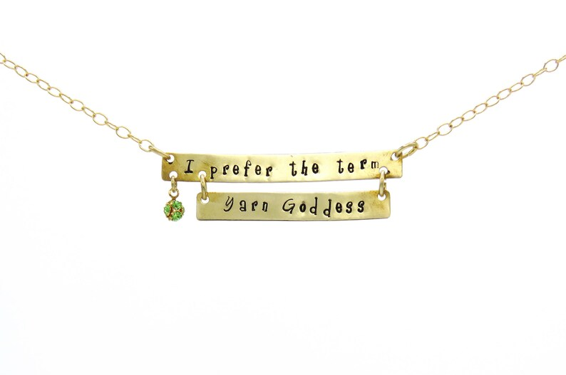 Knitting Quote Quote Necklace Yarn Goddess Pendant image 0