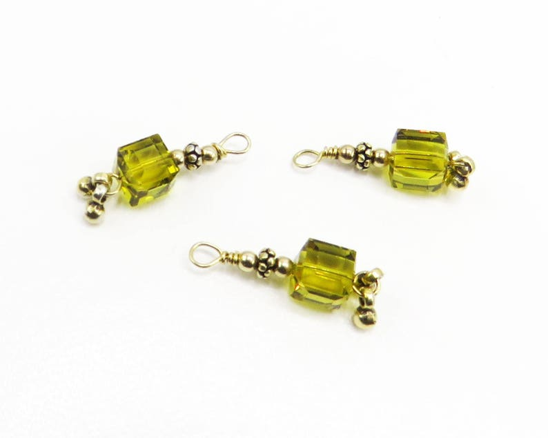 Three dangles Swarovski square bead yellow beads 8x8 mm image 0