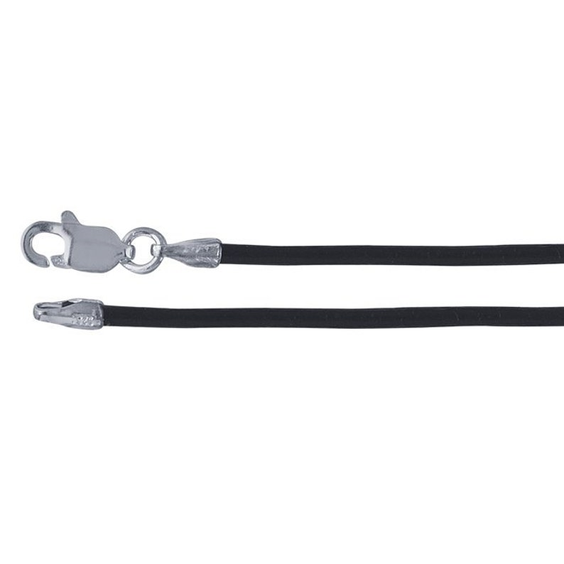 Black Leather Necklace Cord 20 inch Silver Clasp Leather image 0