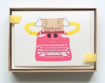 Typewriter Robot Thank You Cards - Mixed Boxed Set of 8