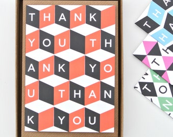 Tessellating Thank You Cards - Mixed Boxed Set of 8