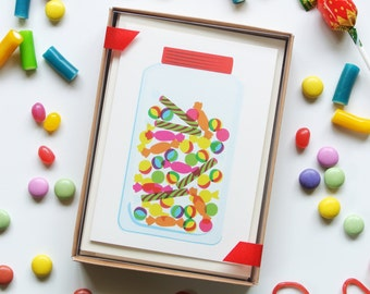 Sweets, Jelly, Ice-Cream Sundae, Lolly - Sweet Treats & Desserts - Boxed Set of 8 Cards