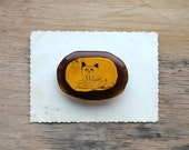 Glass Brooch with Cat drawing - Brooch Pin - Glass Jewelry.
