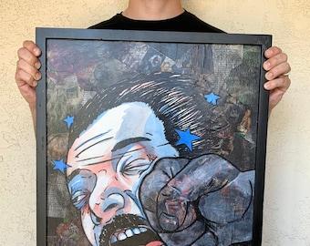 "K (part 1 of ""KO"") - 18x24"" Mixed Media Portrait Painting"