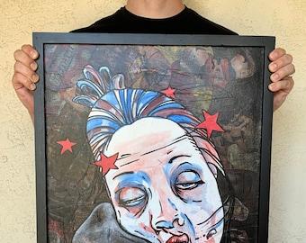 "O (part 2 of ""KO"") - 18x24"" Mixed Media Portrait Painting"
