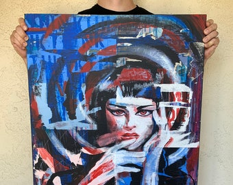 """Think - 18x24"""" Mixed Media Non-Fungible Portrait Painting on Canvas"""