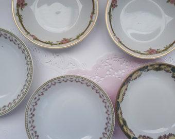 Vintage Floral Dessert Bowls French Limoges Haviland Set of Five - Weddings Bridal