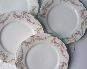 Vintage Haviland Limoges French Rose Luncheon Plates Set of Four