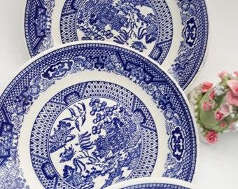 Vintage Royal Blue Willow Saucers/Dessert Plates Set of Four