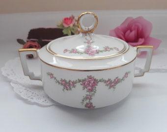 Vintage Pink Rose Covered Sugar Bowl Heinrich Bavarian