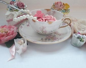 Antique Limoges Teacup Pink Blue Floral - French Romance