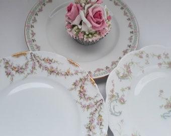 Vintage French Limoges Pink Green Floral Salad Plates Set of Three - Weddings Bridal