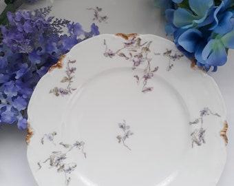 Vintage Purple Floral French Limoges Dinner Plates Set of Two - Elegant Dining