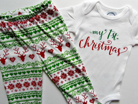 Items Similar To First Christmas Baby Outfit My First