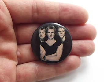 1983 The Police Pin Back Button, Badge, Black, Pop Star, Sting, Vintage