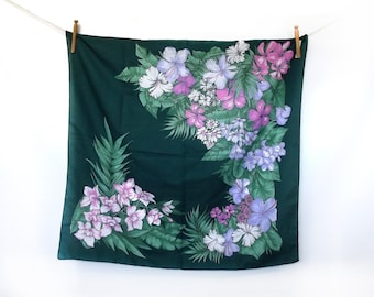 Teal Palm Tree & Hibiscus Flower Scarf, Lilac, Floral Pattern, Pink, Purple and Leaf Green