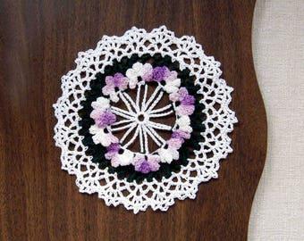 Purple Lavender Flowers Crochet Doily, African Violets Lace Table Decor, 6 1/2 Inch Doily, Cottage Chic , Paris Bedroom, Flower Garden Doily