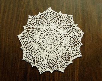 Art Deco Table Decor Crochet Doily, Ecru Lace, 11 Inch Doily, Minimalist Design, Modern Fiber Art for Home or Office Space, Original Design