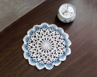 """Round Centerpiece Handmade 12/"""" Tatted Lace Doily Christmas in July -Tatting"""