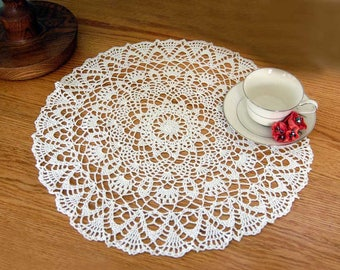 Large White Crochet Lace Doily, Table Centerpiece, 18 Inch Doily, Beautiful Design, Wedding Gift, Elegant Home Decor, Table Topper
