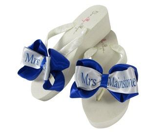 010101a65 Ivory   Royal Blue Personalized Bride Flip Flops- Mrs new last name for the  wedding  Bridal Flip flop sandals  Wedge