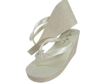 9c7a53950 Vintage Flower   Champagne and Ivory Wedge Flip Flops with Glitter Soles in  1.25 low