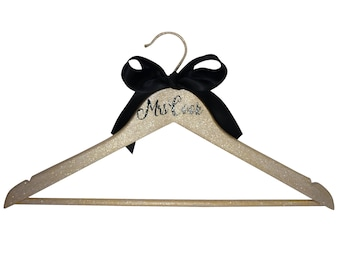 Satin Bow Personalized Mrs Last Name Bride Hanger, Wooden with Notch to Hold Wedding Dress, Customize with Bridesmaid or Title and Date