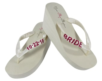 e63d403b4416bb Bride   Wedding Date Customized Wedge Flip Flops - Ivory or White - Hot  Pink Glitter Personalization