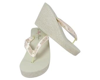 87d17ae6a92 Swarovski rhinestone Glitter Bridal Wedge Flip Flops - Choose colors   Champagne Ivory