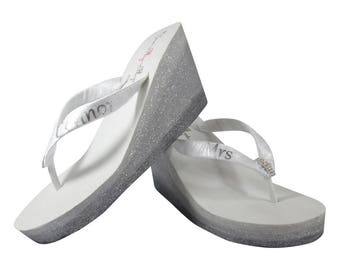 18d88043afc3 Mrs Wedding Ombre Glitter Flip Flop Wedge Sandals for the Bride, Bridal  Flip Flops, Silver Pewter White Ivory, choose colors