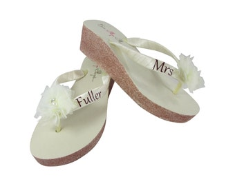 e17bb193ed9de Mrs Tulle Flower Bridal Glitter Wedge Flip Flops - Ivory or White