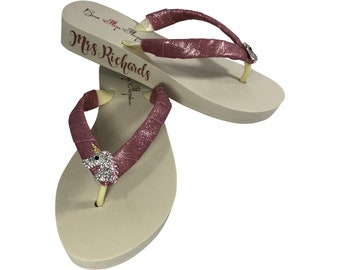 cc3e37263ba009 Mrs New Last Name Wedding Unicorn Flip Flops -Glitter Straps- Personalized  Bride s new name on the Side of the Wedge - Rose Gold Pink Ivory