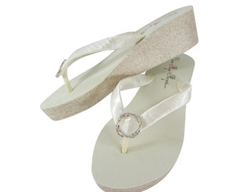 13c8393e6f48 Infinity Circle 2 inch or high Ivory or White Glitter Wedge Bridal Flip  Flops - custom colors and heel silver or gold