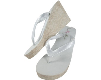 175bf74745cb White with Champagne Wedges in Glitter, Sparkly Bridal Flip Flop Platforms  - or White Champagne and Silver - Choose heel height